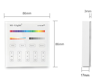 Mi Light Wandbedienung  4 Zonen 2,4G  RGB+CCT